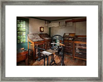 Graphic Artist - The Print Office - 1750  Framed Print by Mike Savad