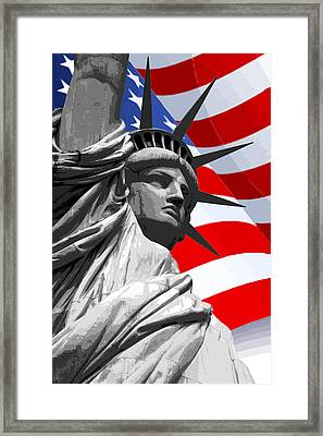Graphic Statue Of Liberty With American Flag Framed Print