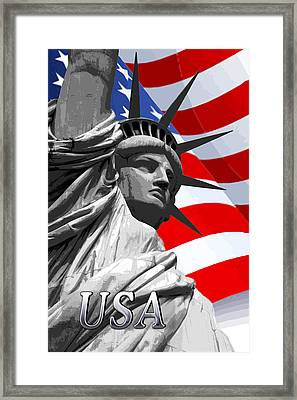 Graphic Statue Of Liberty With American Flag Text Usa Framed Print by Elaine Plesser