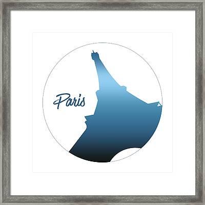 Graphic Style Paris Eiffel Tower Blue Framed Print by Melanie Viola