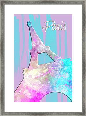 Graphic Style Paris Eiffel Tower Pink Framed Print