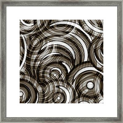 Graphite Grey Circles Abstract Framed Print by Frank Tschakert