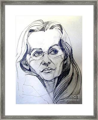 Graphite Portrait Sketch Of A Woman With Glasses Framed Print
