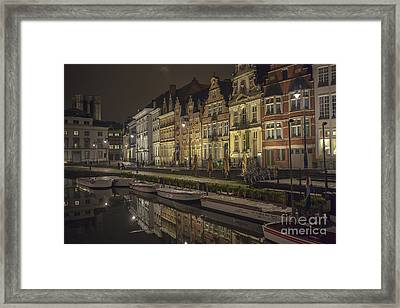 Graslei In Ghent At Night Framed Print