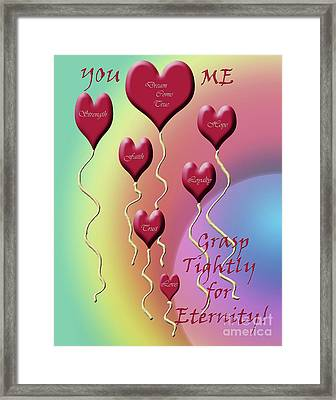 Grasp Tightly For Eternity Framed Print by Cathy  Beharriell