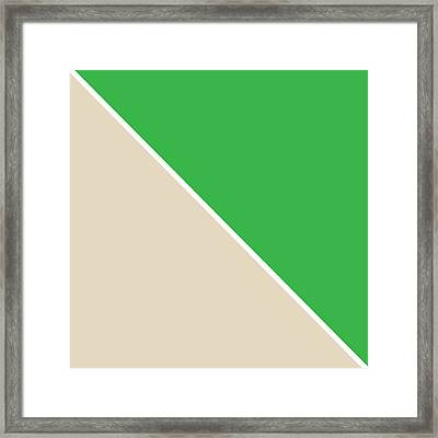 Grass And Sand Geometric Framed Print by Linda Woods