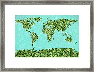 Grass World Map Framed Print by Dan Sproul