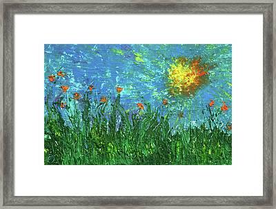 Grassland With Orange Flowers Framed Print by Erik Tanghe