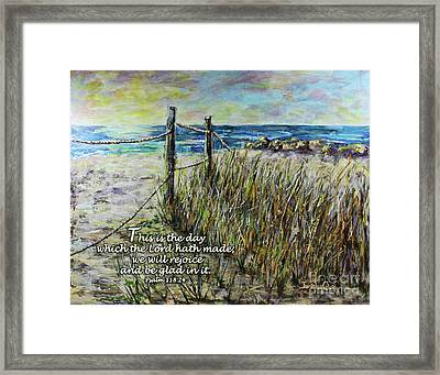 Grassy Beach Post Morning Psalm 118 Framed Print