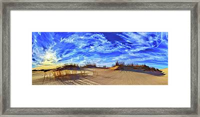 Grassy Dunes At Sandhills Framed Print by ABeautifulSky Photography