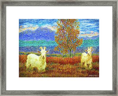 Grassy Meadow Goats Framed Print