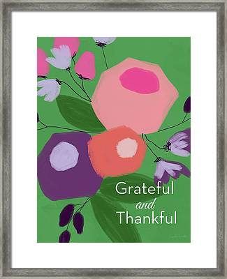 Grateful And Thankful Flowers 1- Art By Linda Woods Framed Print
