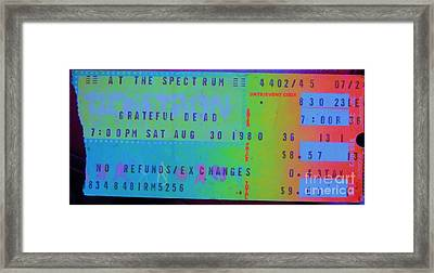 Grateful Dead - Ticket Stub Framed Print by Susan Carella