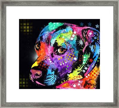 Gratitude Pit Bull Framed Print