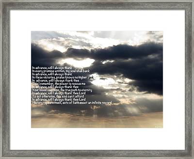 Gratitude Precedes Blessings Framed Print by David Norman