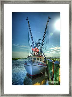 Grave Digger Bad To The Bone Shrimp Boat Art Framed Print by Reid Callaway