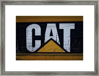 Gravel Pit Cat Signage Hydraulic Excavator Framed Print