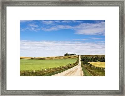 Gravel Road Climbing A Hill Framed Print