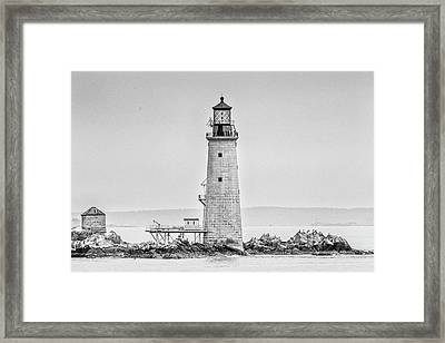 Graves Lighthouse- Boston, Ma - Black And White Framed Print by Peter Ciro