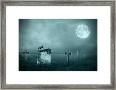 Gravestones In Moonlight Framed Print