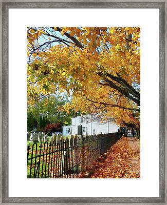 Graveyard In Autumn Framed Print by Susan Savad