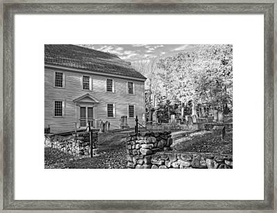 Graveyard Old Country Church Black And White Photo Framed Print by Keith Webber Jr