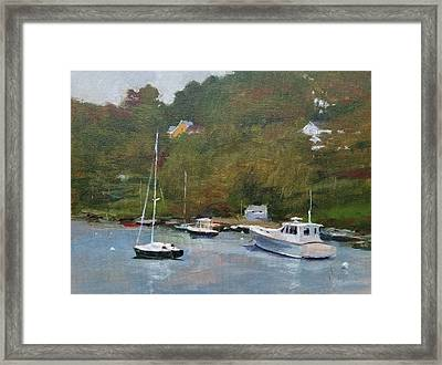 Gray Afternoon At Rockport Harbor Framed Print by Peter Salwen