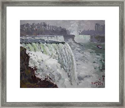 Gray And Cold At American Falls Framed Print