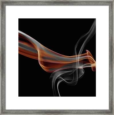 Gray And Orange Smoke Abstract Framed Print