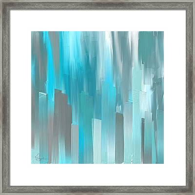 Gray And Teal Abstract Art Framed Print