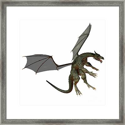 Gray Brown Dragon Framed Print by Corey Ford