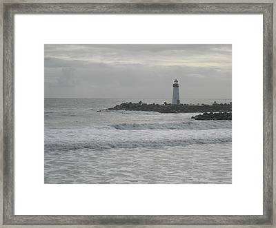Gray Day Lighthouse Framed Print by Sharon McKeegan