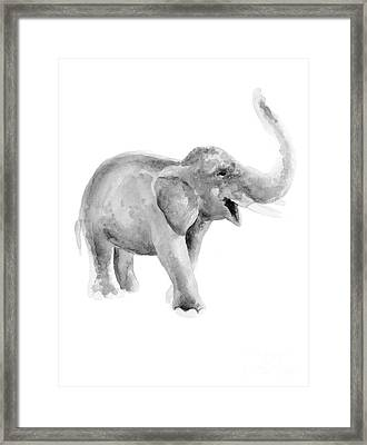 Gray Elephant Watercolor Painting Framed Print