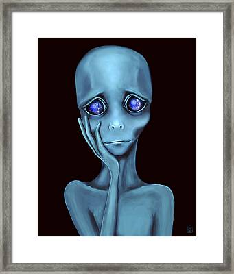 Gray Framed Print by Esther Torres trujillo