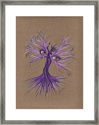 Framed Print featuring the drawing Gray Eyes by Dawn Fairies