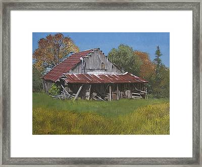 Gray Farm Building Framed Print by Peter Muzyka
