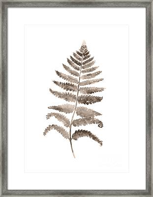 Gray Fern Watercolor Art Print Painting Framed Print