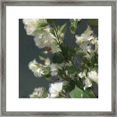 Gray Floral 09 Framed Print