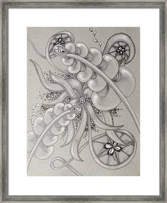 Gray Garden Explosion Framed Print by Jan Steinle