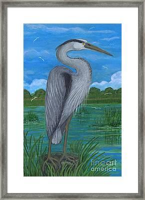 Gray Heron Framed Print by Anna Folkartanna Maciejewska-Dyba