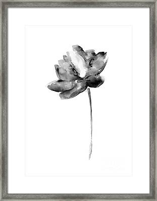 Gray Lotos Flower Watercolor Art Print Framed Print