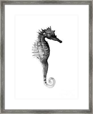Gray Seahorse Minimalist Painting Framed Print