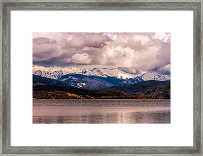 Gray Skies Over Lake Granby Framed Print