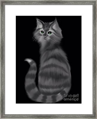 Framed Print featuring the painting Gray Striped Cat by Nick Gustafson