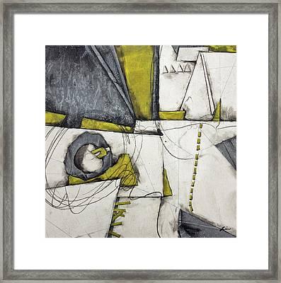 Gray, White, Green Gold  Framed Print