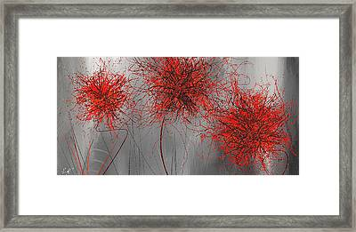 Grayish Vibrant Blooms- Red And Gray Modern Art Framed Print by Lourry Legarde