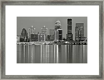 Grayscale Louisville Lights Framed Print by Frozen in Time Fine Art Photography