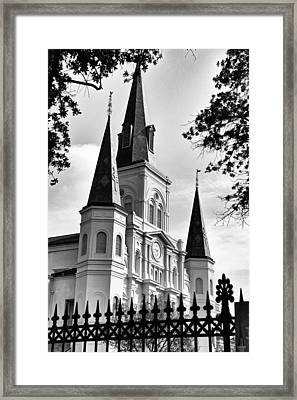 Grayscale St. Louis Cathedral Framed Print