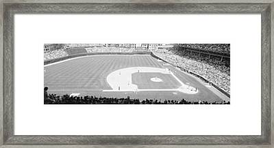 Grayscale Wrigley Field, Chicago, Cubs Framed Print by Panoramic Images