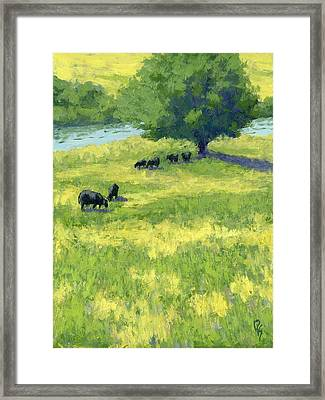 Grazing By The Bear River Framed Print by David King